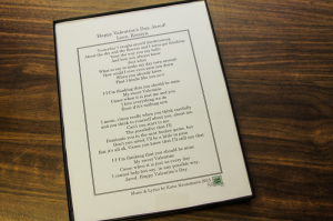 Each recipient will also receive a framed copy of the personalized lyrics to their song!